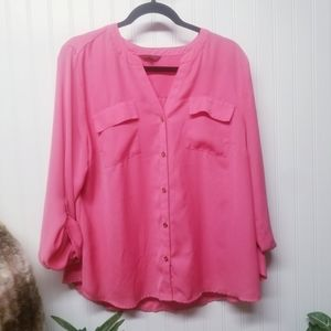 212 Collection Pink Button Down Top Size XL